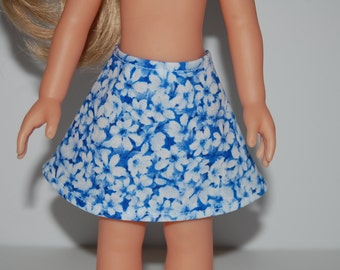 "Blue White Floral A-Line Skirt Doll Clothes Corolle 13"" Les Cheries 14"" Hearts for Hearts Betsy McCall  tkct937"