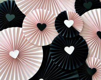 Backdrop Paper Rosettes - Black & Pink