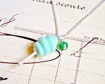 Handmade miniature mint candy floss necklace - miniature food jewelry, candy floss necklace, cotton candy necklace