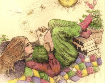Between the pages of a book giclee reproduction print Moosup