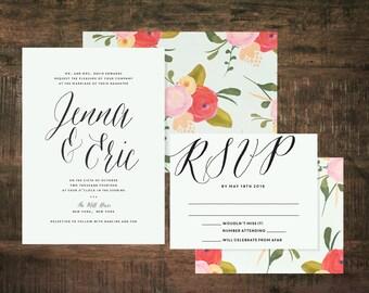 Mint Green Wedding Invitation Suite (Set of 25)   Wedding Invitation Set, Floral Wedding, Green Wedding, Pink, Flower