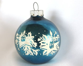 Vintage Shiny Brite Christmas Ornament, Blue with White Stenciled Candles on Stars Christmas Ornament