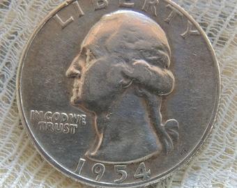 Vintage 1954S Washington Quarter, Silver Quarter, Rare Coins, Vintage Coins, USA Coins, FREE Shipping