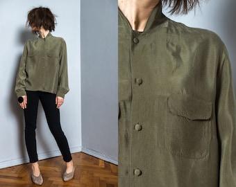 Khaki silky shirt   vintage oversize blouse   cupro   green blouse   hipster blouse   spring blouse   women blouse   button up   button down