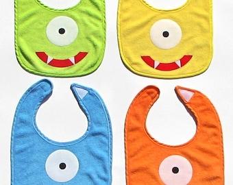 Monster Face Bib.Monster Bib. Monster Theme Birthday. Boy.Girl.Baby Shower Gift. Photo Prop
