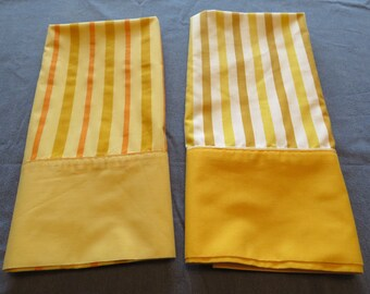 Pair 70s Unmatched Striped Goldenrod Yellow Pillowcases Reverse Colors #135