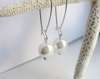 White Faux Pearl Kidney Wire Earrings