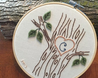 Custom Embroidered hoop with tree and initial. Woodland embroidery nursery wedding nature monogram
