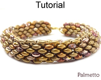 Super Duo Beads - Jewelry Making Beading Tutorials - Tubular - Beaded Bracelet Necklace - Simple Bead Patterns - Palmetto #18059