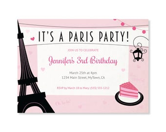 Printed Invitations - Paris Party