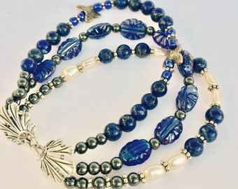 Midnight & Moonlight: Lapis, Freshwater Pearls, Dark Iridescent Venetian Glass, Antique Ti