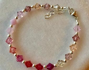Pink Shade Swarovski Crystal Bracelet, Pink Flower Girl Bracelet, Bridesmaid Bracelet, Junior Bridesmaid Bracelet,  Pink Crystal Bracelet
