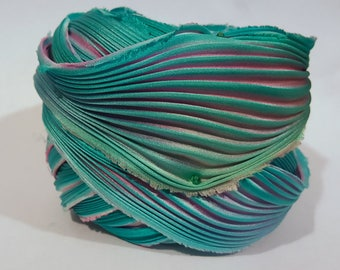 1 yd Hand Dyed Shibori Silk Ribbon Pink Teal Shibori Girl Made in and ship from the US