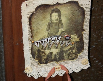 Mixed Media Halloween Collage/Vintage Appeal/Old Vintage Girl Photo/Old Buttons/Old book cover/Lace/Rusty Wire