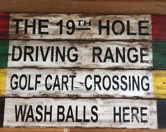 Set of 4 Rustic golf signs