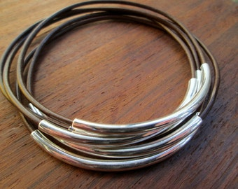 Brown Leather Bangle Set, Women's Leather Bracelets, Brown Silver Bangles, Thin Leather Brown Boho Stacking Bracelet Set, Women's Gift