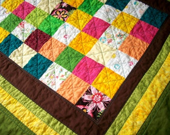 SALE Bright Patchwork Toddler Quilt - Turquoise Quilt Baby Quilt Green Modern Quilt