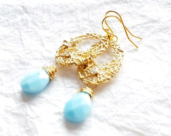 14kt Gold Plated Abstract Oval Nest Motif Earrings with Milky Robin Egg Blue Teardrop Briolette Drops, The Nest Earrings