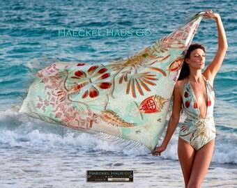 130 cm x 130cm heavy silk twill shawl scarf hand rolled with fringe molecular sea creature print