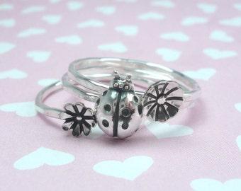 Sterlling Silver Ladybug and Flower Blossom Stacking Ring Set