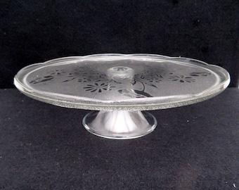 Large Vintage glass cake stand Dessert pedestal platter pressed glass embossed pattern cupcake platter, cupcake stand dia 12.5 in / 31.6 cm