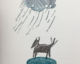 Rainy day dog linoprint