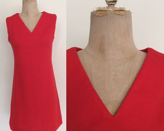 1970's Red Textured Polyester Shift Dress Size Small Medium by Maeberry Vintage