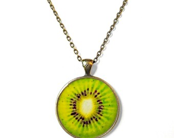 Lime Green Kiwi Necklace - Summertime Fruit Slice Jewelry