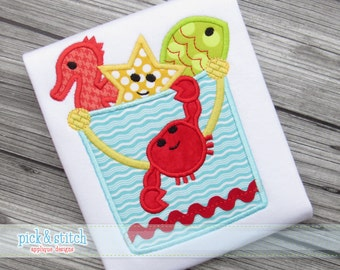 Sand Pail with Sea Friends - Appliqued and Embroidered Shirt
