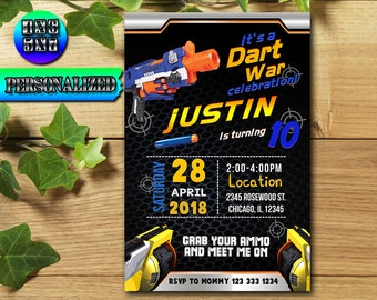 Nerf, Nerf Invitation / Nerf Birthday / Nerf Birthday Invitation / Nerf Party / Nerf invite / Nerf Gun UF0030