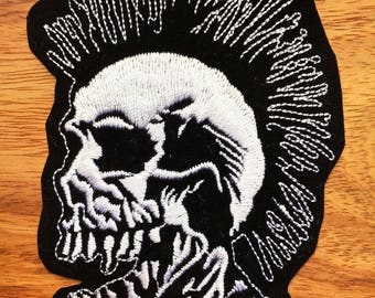 Skull Mohawk Punk Rock Biker Embroidered Applique Iron on Patch