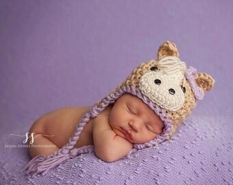 Crochet Horse Hat, Crochet Pony Hat, Horse Beanie, Pony Beanie