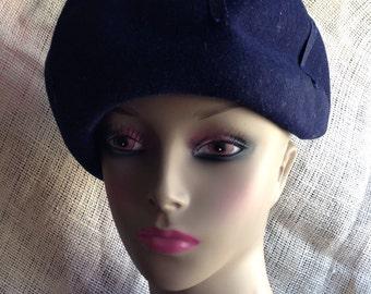 VINTAGE Navy Blue Woman's Hat