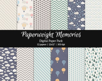 """Digital patterned paper - Rainy Day - digital scrapbooking - patterned and textured paper - 12x12"""" 300dpi  - Commercial Use"""