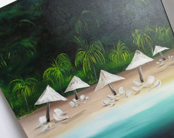 Caribbean Art Tropical Art Original Painting 16 x 20 Tropical Beach Scene Plantation Style Art Acrylic Painting Beach Decor Cottage Decor