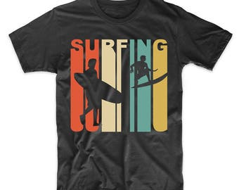 Vintage Retro 1970's Style Surfer Silhouette Surfing T-Shirt