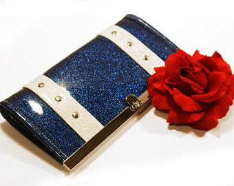 Royal Blue Glitter Vinyl Wallet with Your Choice of Trim - MADE TO ORDER