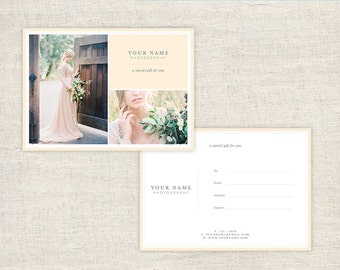 Photographer Gift Certificate Template -  Photography Gift Card Template - Wedding Photo Gift Card Templates - INSTANT DOWNLOAD