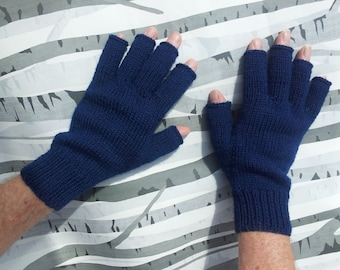 Wool Blend Fingerless Mens Gloves Hand Knitted Made To Order