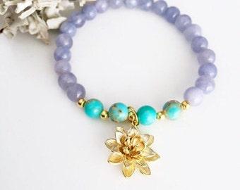 Mala bead bracelet, Lotus Mala Bracelet, Yoga Bracelet, Lotus Bracelet, Wrist Mala, Lotus Mala, Gray quartz, Healing bracelet, Yoga Mala