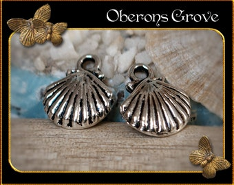 10 shell charms silver 12x14mm