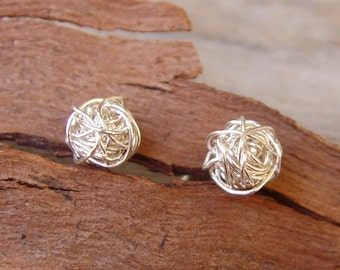 Small Sterling Silver Studs, Wire Ball Post Earrings, Sterling Silver, Silver Post Earrings, Siver Stud Earrings, Silver Studs Earrings