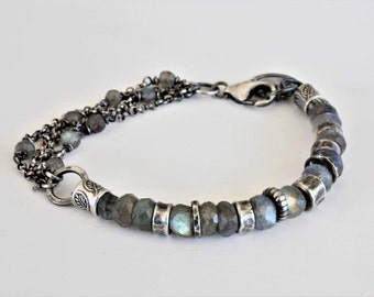 Labradorite bracelet, oxidized sterling silver, labradorite chain bracelet, oxidized silver,  artisan jewelry