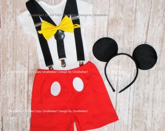 Mickey Mouse Birthday outfit cake smash costume boy bow tie SHORTS FREE ears Solid Black suspenders 1st 2nd 9 12 18 24 2T toddler SALE