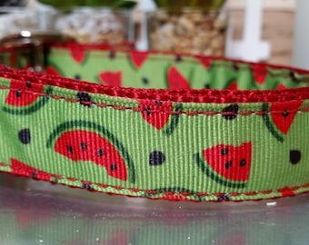 "1"" Metal Buckle Dog Collar, Watermelon Slices,  Plastic Buckle, Watermelon Dog Collar, Summertime Dog Collar"