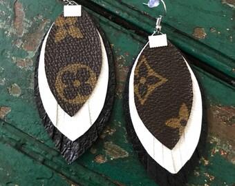 Handmade Louis Vuitton fringe earrings/LV layered earrings/faux leather Louis Vuitton earrings/lightweight earrings/fringe layered LV