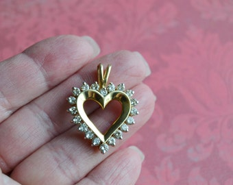 2 carat diamond14 kt GOLD DIAMOND Heart Pendant  2 ctw Diamonds