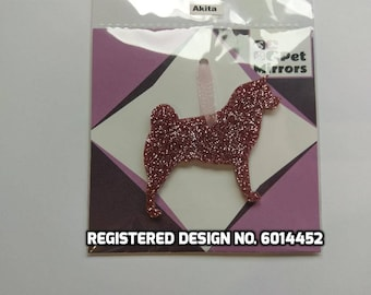 Glitter acrylic Akita Christmas decoration - 9 colour choices