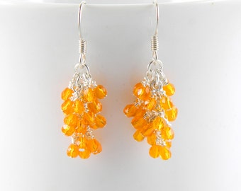 Bright Orange Cascade Earrings with Surgical Steel Ear Wires