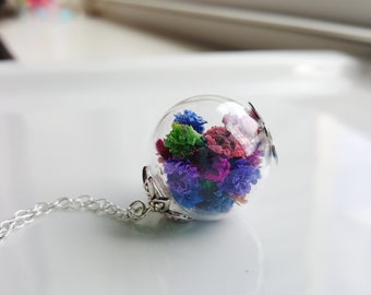 Dried Flower Necklace, Glass Globe Necklace, Terrarium Necklace, Flowers Preserved Under Glass, Baby's Breath Necklace, Spring Jewelry